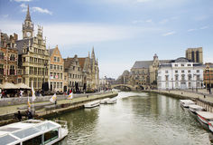 Belgium. The Embankments Of Ghent. Royalty Free Stock Photo