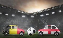 Belgium and England cars on football stadium Royalty Free Stock Photo