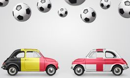 Belgium and England football cars Stock Images