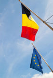 Belgium and EU flags Royalty Free Stock Photo