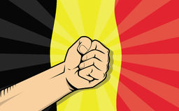 Belgium europe country fight protest symbol with strong hand and flag as background Royalty Free Stock Image