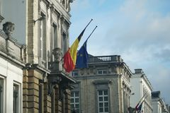 Belgium and European Union flags Stock Image