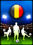 Belgium Flag Button with Soccer Match in Stadium Stock Images