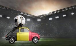 Belgium car on football stadium. Belgium flag on car delivering soccer or football ball at stadium royalty free stock photos