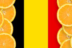 Belgium flag in citrus fruit slices vertical frame. Belgium flag in vertical frame of orange citrus fruit slices. Concept of growing as well as import and export stock illustration