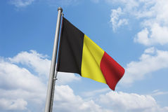 Belgium Flag with Clouds Royalty Free Stock Images