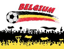 Belgium flag colors with soccer ball and Belgian supporters silh. Ouettes. All the objects, brush strokes and silhouettes are in different layers and the text Royalty Free Stock Image