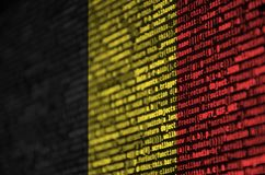 Belgium flag is depicted on the screen with the program code. The concept of modern technology and site development.  vector illustration