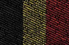 Belgium flag is depicted on the screen with the program code. The concept of modern technology and site development.  stock image