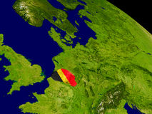 Belgium with flag on Earth Royalty Free Stock Photo
