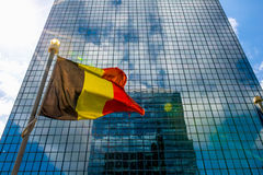 Belgium flag. In front of busindess building royalty free stock images
