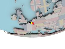 Belgium with flag on globe. 3D illustration of Belgium with embedded flag on political globe. 3D render Royalty Free Stock Photography