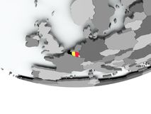 Belgium with flag on globe Royalty Free Stock Photography