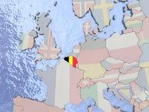 Belgium with flag on globe Stock Photo