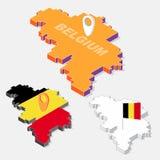 Belgium flag on map element with 3D isometric shape isolated on background Royalty Free Stock Photo