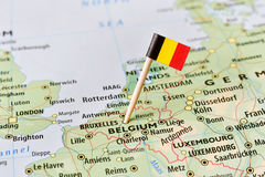 Belgium flag on map. Belgium paper flag pin on a map (series image Royalty Free Stock Photos
