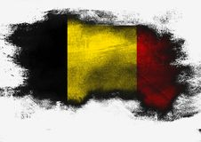 Belgium flag painted with brush. On white background, 3D rendering royalty free stock images
