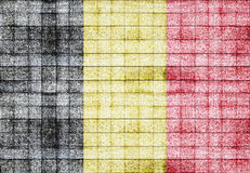 Belgium flag painted on old square blocks wood texture Stock Photography