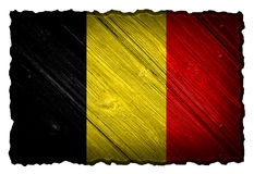 Belgium Flag. Painted on wood tag royalty free stock image