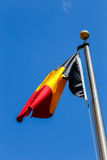 Belgium flag. Photography of an belgium flag with sky at outdoors royalty free stock images