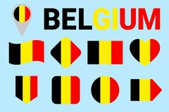 Belgium flag vector set. Different geometric shapes. Flat style. Belgian flags collection. For sports, national, travel, geographi stock illustration