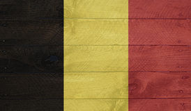 Belgium flag on wood boards with nails Royalty Free Stock Photos