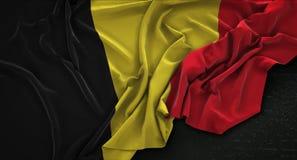 Belgium Flag Wrinkled On Dark Background 3D Render Stock Photos