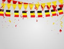 Belgium flags Celebration background with confetti and red and Yellow ribbons. Belgium flags Celebration background template with confetti and red and Yellow Royalty Free Stock Photo
