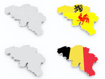 Belgium flags and 3d maps Stock Photo