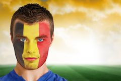 Belgium football fan in face paint Stock Photography