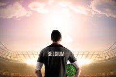 Belgium football player holding ball Royalty Free Stock Images