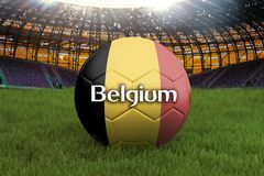 Belgium football team ball on big stadium background. Belgium Team competition concept. Belgium flag on ball team tournament in Ru. Ssia. Sport competition on Royalty Free Stock Image