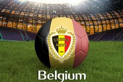 Belgium football team ball on big stadium background with Belgium Team logo competition concept. Belgium flag on ball team tournam. Ent in Russia. Sport Royalty Free Stock Photo