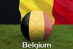 Belgium football team ball on big stadium background. Belgium Team competition concept. Belgium flag on ball team tournament in Ru. Ssia. Sport competition on Royalty Free Stock Photos