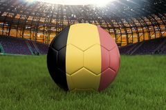 Belgium football team ball on big stadium background. Belgium Team competition concept. Belgium flag on ball team tournament in Ru. Ssia. Sport competition on Royalty Free Stock Photo