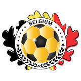 Belgium football team sign, containing a soccer ball Stock Photos