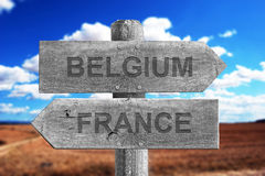 Belgium and France border signal Stock Images