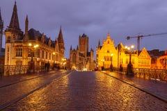 Belgium. Gent at night. stock photo