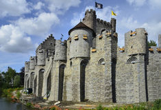 Belgium, Ghent. Belgium, Grafensteen castle in Unesco world heritage site Ghent stock photos