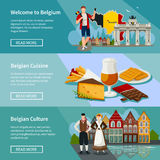Belgium Horizontal Banners Set Flat Style Royalty Free Stock Photo