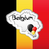 Belgium Independence Day greeting card template with flag, map silhouette and balloons. Cartoon vector illustration in flat style Stock Images