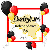 Belgium Independence Day, July 21 greeting card template. With balloons, frame, map and text on white background. Cartoon vector illustration in flat style Royalty Free Stock Photo