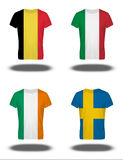 Belgium, Italy, Ireland, Sweden flags on t-shirt on white background Stock Photos