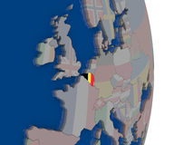 Belgium with its flag. Map of Belgium with its flag on globe. 3D illustration Stock Images