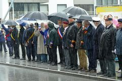 Belgium, June 10, 2019: commemoration of the French Zoeaven who fell in Westhoek WW I.; notables of politics, army, associations royalty free stock photography