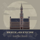 Belgium landmarks. Retro styled image Royalty Free Stock Photography