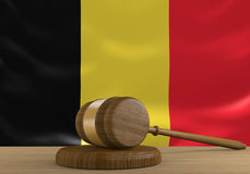 Belgium law and court justice system with national flag, 3D rendering Royalty Free Stock Photos