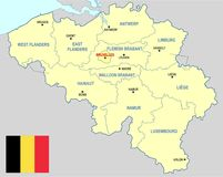 Belgium map - cdr format. Belgium map with provinces main cities and flag stock illustration