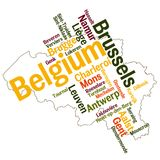 Belgium map and cities. Belgium map and words cloud with larger cities vector illustration