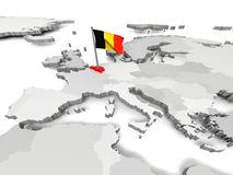 Belgium on map of Europe Stock Photos
